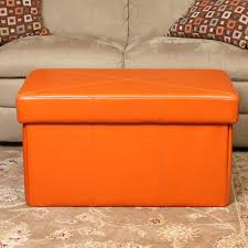 Orange Storage Ottoman Orange Storage Ottoman Interiorvues
