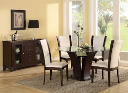 contemporary dining room ideas with round glass dining table and