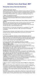 enterprise library interview questions jinal desai net