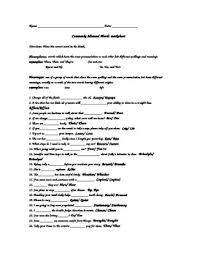 commonly misspelled words worksheet worksheets releaseboard free