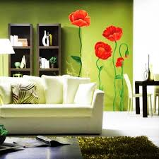 Modern Home Decorating With Wall Stickers Decals And Vinyl Art Ideas - Poppy wallpaper home interior