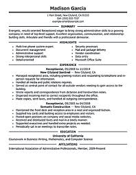 Sample Resume Objectives For Mechanics by Receptionist Job Resume Objective Free Resume Example And