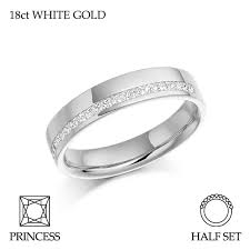 18ct white gold wedding ring 18ct yellow gold half set princess cut diamond eternity