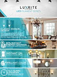 4 pack edison led filament bulb luxrite 4w 4000k cool white