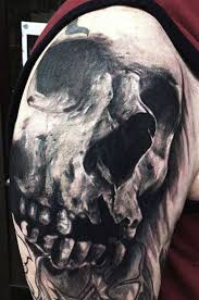 grey ink horror skull on right half sleeve