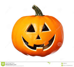 happy halloween pumpkin jack o lantern isolated on white stock