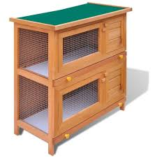 outdoor rabbit hutch small animal house pet cage 4 doors wood