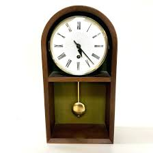 Modern Desk Clock Pendulum Desk Clock Mid Century Modern Mid Century Walnut Miller