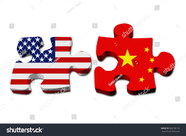 The Flag Of Usa Relationship Between Usa China Two Puzzle Stockillustration