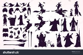 happy halloween vector happy halloween collection headsbodies witch attributes stock