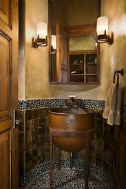 river stone tile powder room rustic with bathroom mirror faux