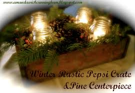 kaleidoscope of colors winter rustic pepsi crate u0026 pine centerpiece
