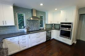 White Cabinets Dark Grey Countertops Transitional Style Gray U0026 White G Shaped Kitchen Remodel With