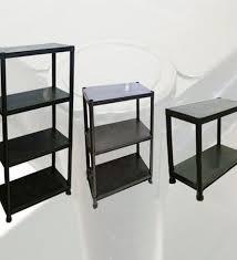 4 tier black plastic shelves shelving garage office plastic