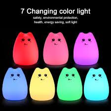 usb cat night light 7 colors cute cat l colorful light silicone cat night lights