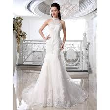 robe de mari e satin robe de mariée mariage longue traîne ras du cou sans manches