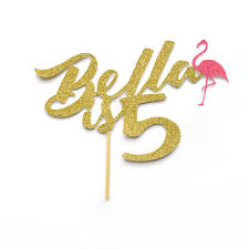 Birthday Cake Toppers Name Is Age Birthday Cake Topper With Decorative Flamingo
