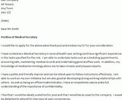 cover letter for a medical secretary letter of interest for a