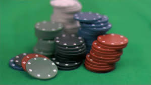 Big Blind Small Blind Small Blind Chip Thrown In Super Slow Motion On Poker Table Stock