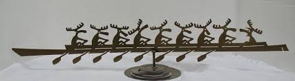 willoughby canadian metal sculptures moose boat race ornament