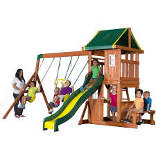 Backyard Adventures Price List Backyard Discovery Oakmont Cedar Wooden Swing Set Walmart Com