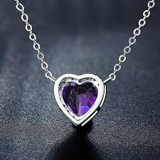 purple heart necklace images Romantic 925 sterling silver purple crystal heart shaped necklace jpeg