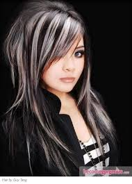 hairstyles with grey streaks 50 stylish highlighted hairstyles for black hair platinum blonde