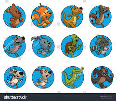 vector set round blue frames cute stock vector 636159704