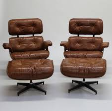 Wingback Chair Ottoman Design Ideas Furniture Luxury Eames Vintage Brown Leather Lounge Chair With