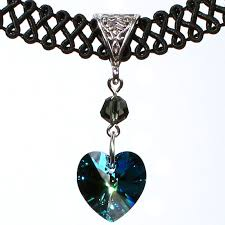 crystal heart necklace images 14mm bermuda blue swarovski crystal heart swirl trim choker jpg