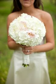 hydrangea wedding bouquet a hint of pink bouquet wedding flower