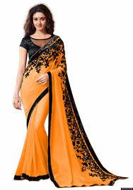 women chiffon light orange colour embroidey lace border work