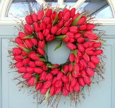 tulip wreath wreath tulip wreath tulip door by countryprim