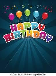 clip art vector of happy birthday greeting card vector happy
