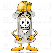 cartoon clip art of a cute pillar mascot cartoon character wearing