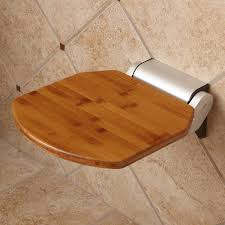Wood Shower Bench Solid Bamboo Folding Shower Seat Bathroom
