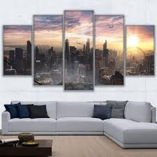 popular chicago city wall pictures buy cheap chicago city wall canvas living room wall art decor hd prints pictures 5 pieces chicago cityscape sky view paintings