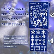 amazon com 214 pcs 6 sheets snowflakes window clings pvc winter