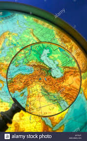 Middle East Country Map by Middle East Countries World Globe Written In Arabic Seen Through