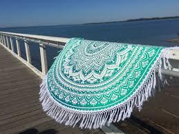 Green Throw Rug White Sea Green Ombre Round Beach Towel Mandala Roundie On