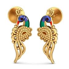 gold earrings online peackock earring earrings for women gold earrings online zomint