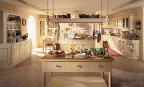 Italian Kitchen Furniture Decor White Washed Kitchen Cabinets And Pot Rack With Tile Floors