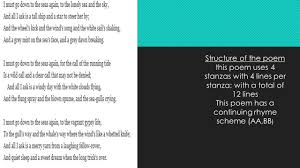Rhyme Scheme Worksheet By John Masefield Powerpoint By Rease Maloney Ppt Video Online