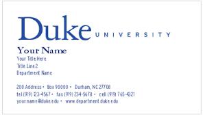 Format Of A Business Card Print U2013 Duke U0027s Brand Manual