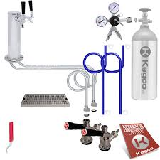 Double Faucet Kegco Deluxe Double Tap Faucet Tower Kegerator Conversion Kit For