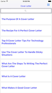 cover letter on the app store