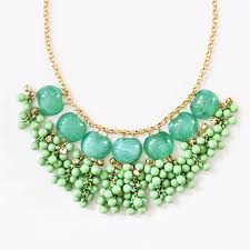 drop bead cascading bead necklace mint statement necklace with bead