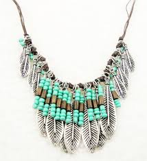 long boho necklace images Bohemian style silver green resin bead mteal leaf long pendant jpg