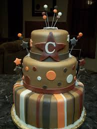 mymonicakes monogramed star baby shower cake in earth tones