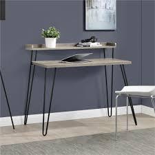 ameriwood furniture haven retro desk with riser weathered oak
